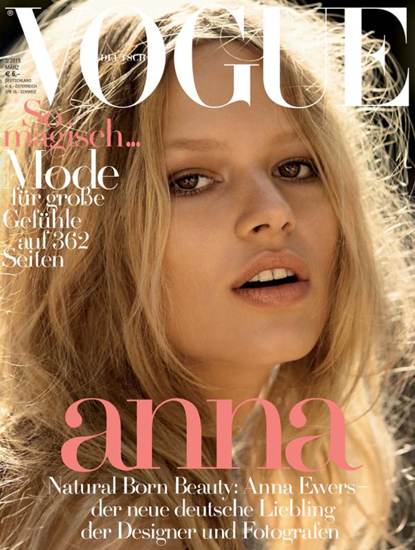 Анна Эверс на обложке Vogue Германия, март 2015