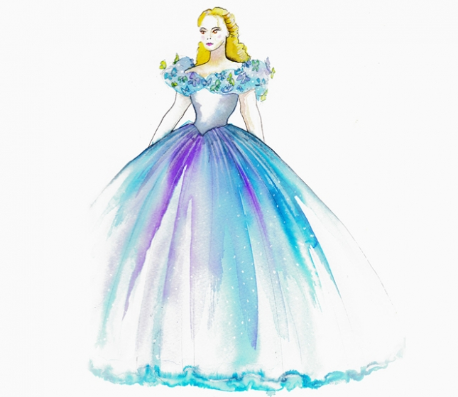эскиз бального платья Золушки