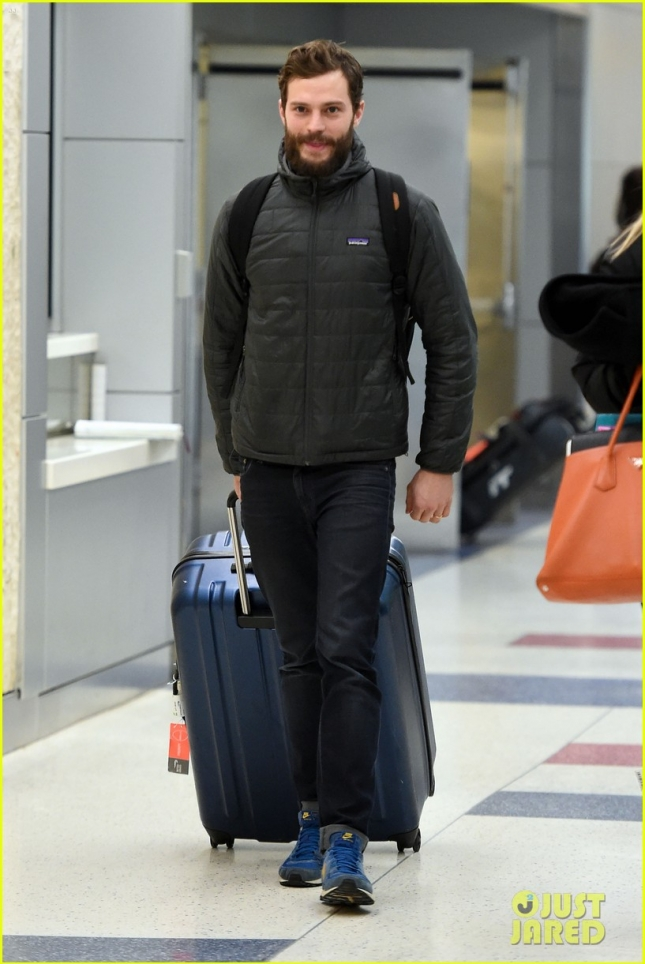 A scruffy Jamie Dornan touches down in the Big Apple **USA ONLY**