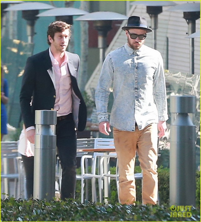 Exclusive... Justin Timberlake Heads To An Office In Century City