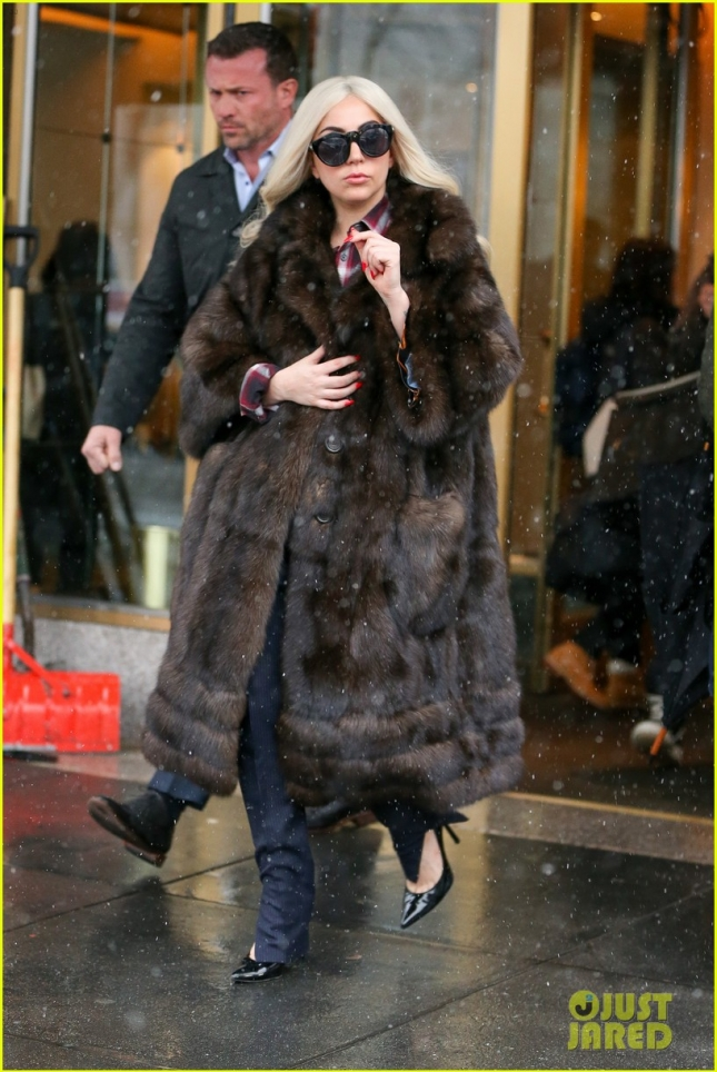 Lady Gaga steps out on a snowing day in New York City