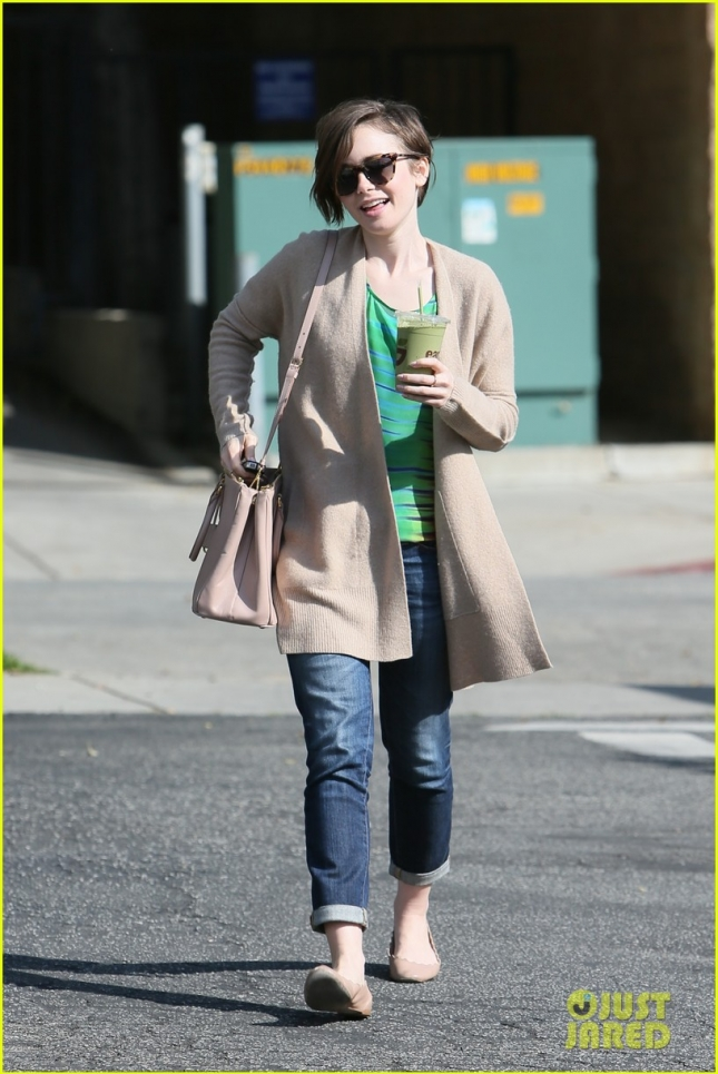 Lilly Collins seen leaving Hugo's restaurant