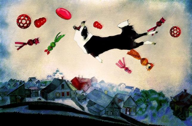 Репродукция картины Над городом Марка Шагала