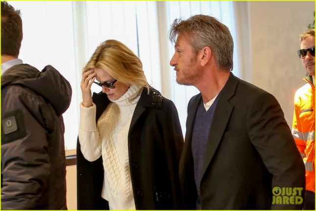 Sean Penn and Charlize Theron say 'Ciao' to Rome **USA ONLY**