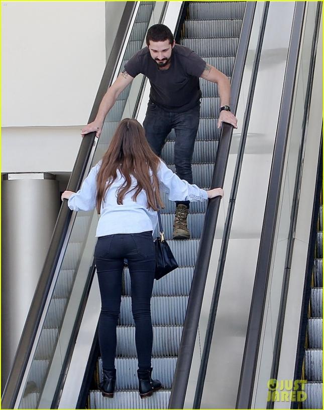 Shia Labeouf Monkeys Around With Girlfriend Mia Goth on a Mall Escalator