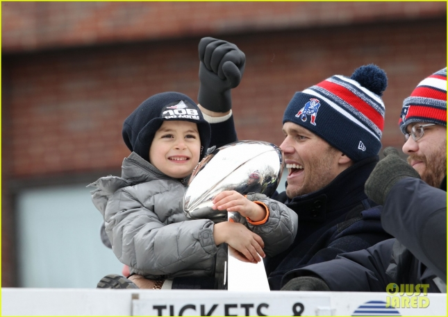 Tom Brady & Benjamin Celebrate The Patriots Super Bowl Victory