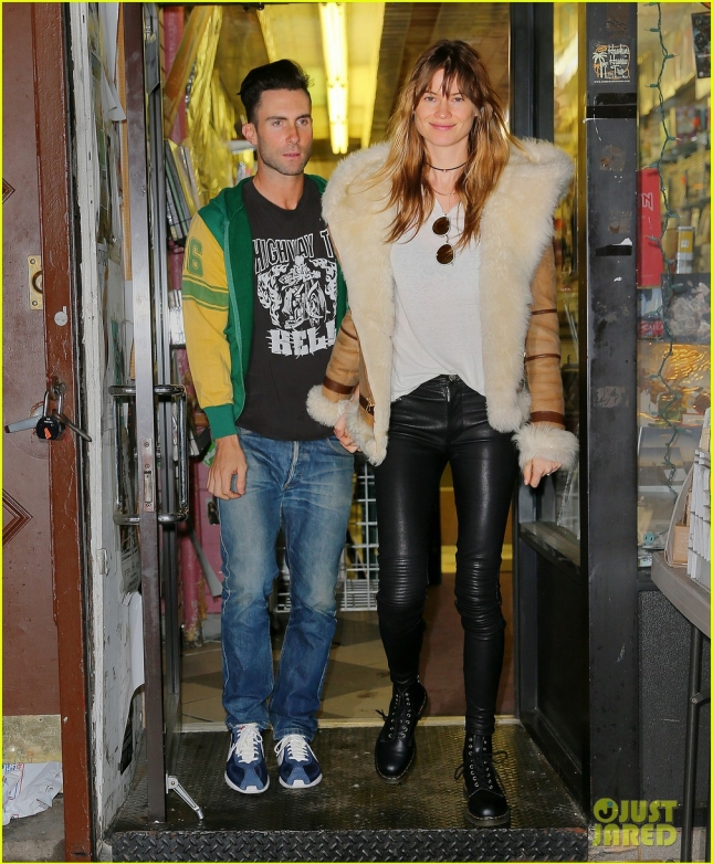Adam Levine wears used clothing he bought from the SoHo vintage store What Goes Around Comes Around, after shopping at a record store with wife Behati Prinsloo