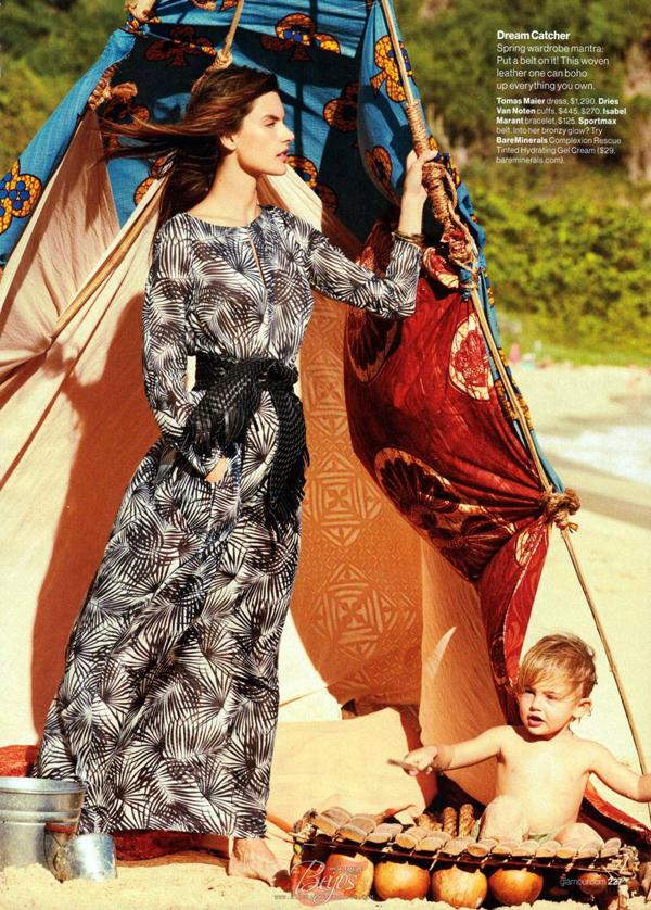 Алессандра Амбросио с детьми  в фотосессии для Glamour США, апрель 2015
