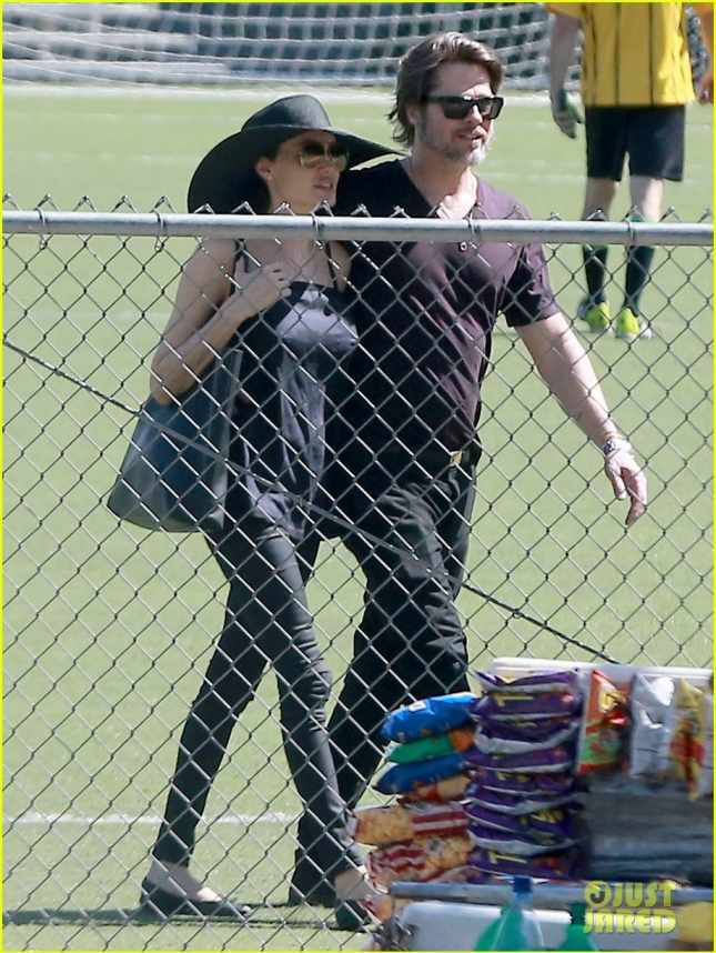 Exclusive... NO WEB / ADD FEES  - Proud Parents Brad and Angelina Pack on the PDA at Shiloh and Zahara's Soccer Match - NO WEB USE