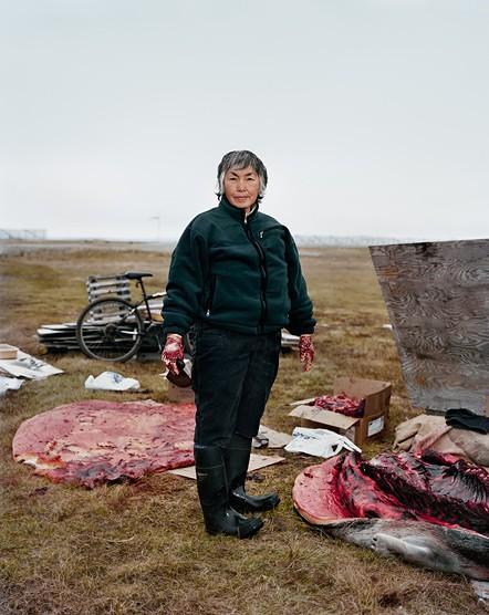 Ардит Вейиуанна занята заготовкой мяса оленей