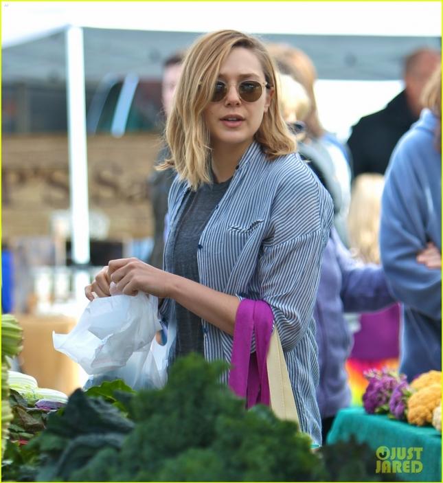 Elizabeth Olsen shops for produce at the Studio City Farmers Market