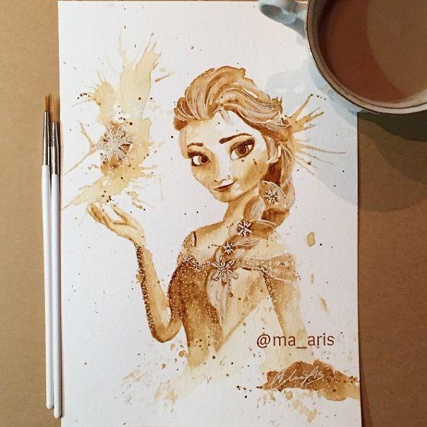 Кофейные рисунки Марии Аристиду