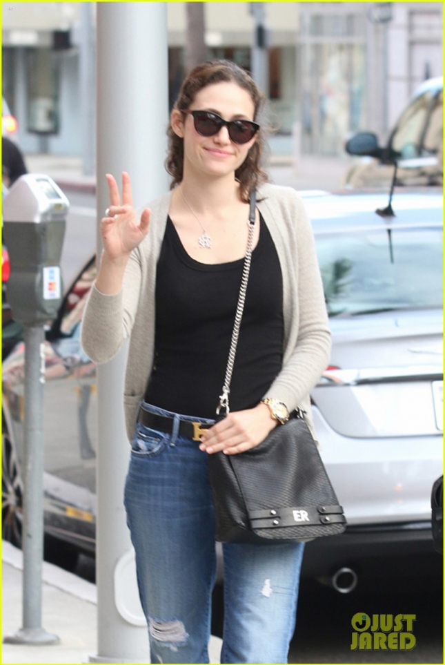 Actress Emmy Rossum runs errands on a beautiful Saturday afternoon