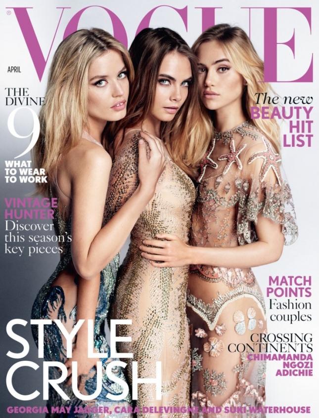 Сьюки Уотерхаус, Кара Делевинь, Джорджия Мэй Джаггер на обложке Vogue UK