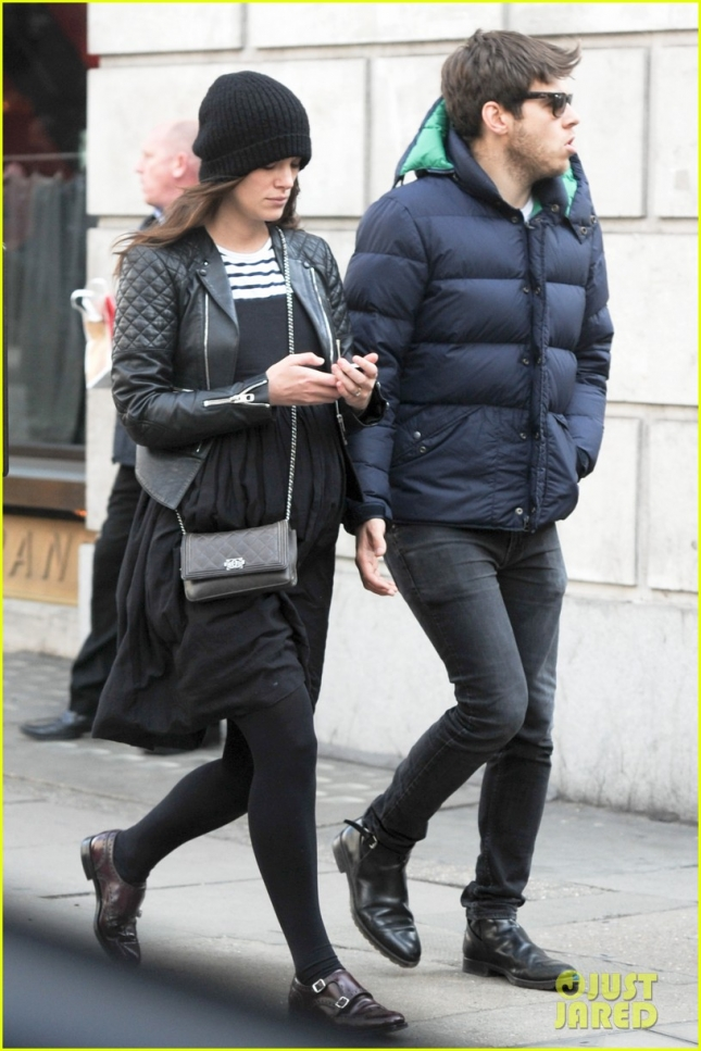 Keira Knightley and James Righton step out to run errands **USA ONLY**