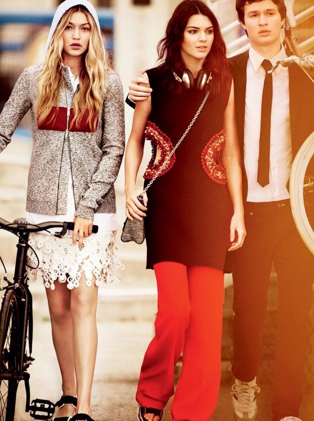 Джиджи Хадид, Кендалл Дженнер и Энсел Элгорт для Vogue США