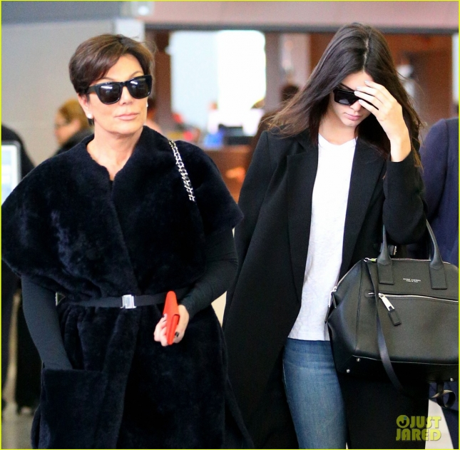 Kendall Jenner and Kris Jenner touch down at JFK Airport in NYC