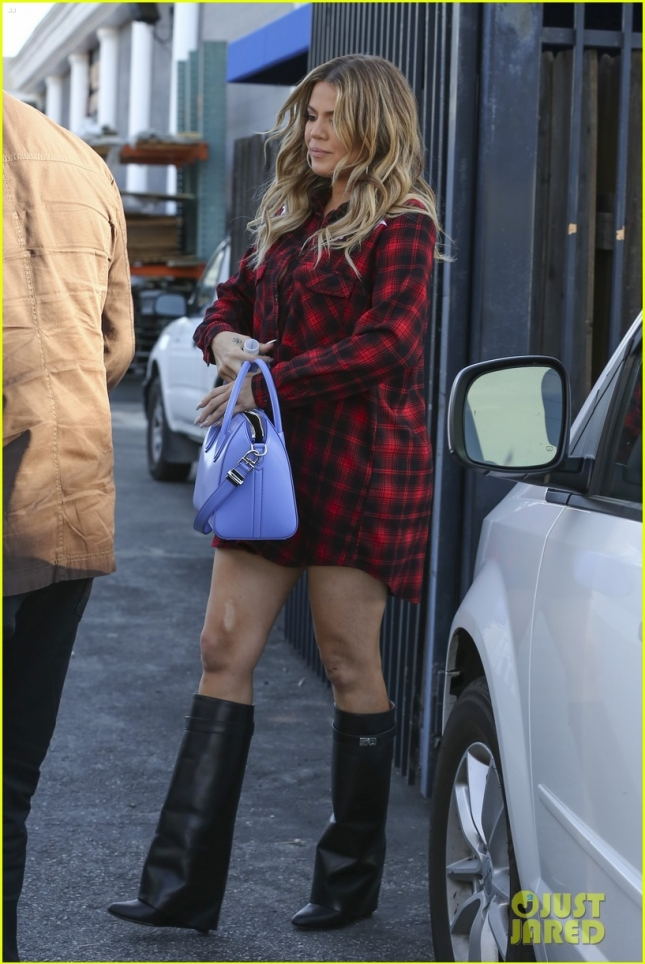 Khloe Kardashian leaves Studio with Purple Givenchy Handbag