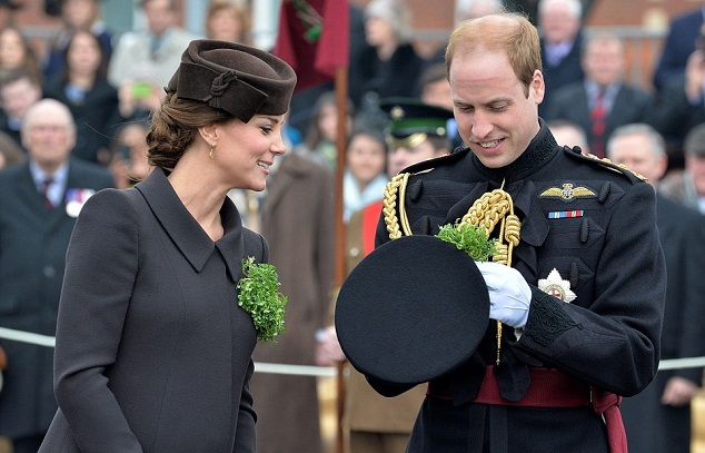 Принц Уилльям и герцогиня Кэтрин на параде в честь Дня Святого Патрика