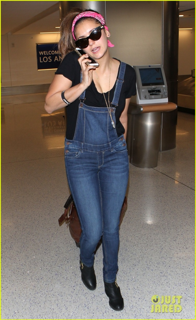 Nina Dobrev wears Overalls at LAX **USA ONLY**
