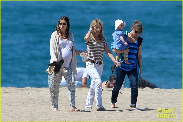 *EXCLUSIVE* Jessica Biel shows off huge baby bump during a beach walk