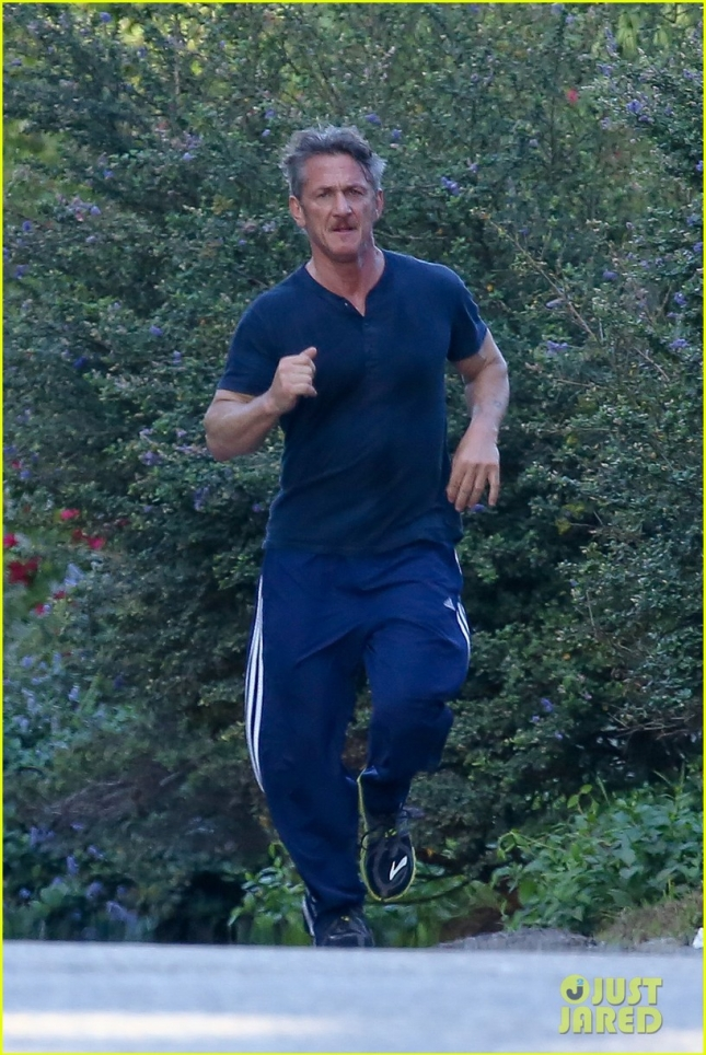 *EXCLUSIVE* Sean Penn keeps lean and mean with two jogs a day