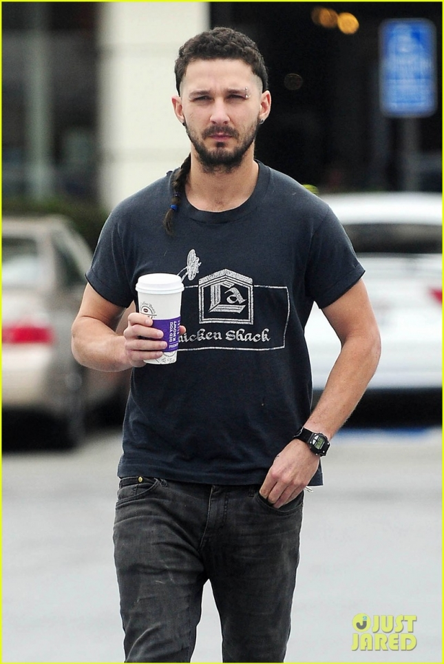 *EXCLUSIVE* Shia LaBeouf starts his day with a Cup of Joe amid engagement rumors with Mia Goth