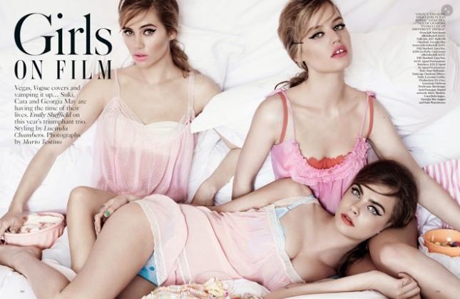 Суки Уотерхаус, Джорджия Мэй Джаггер и Кара Делевинь в фотосессии для Vogue UK