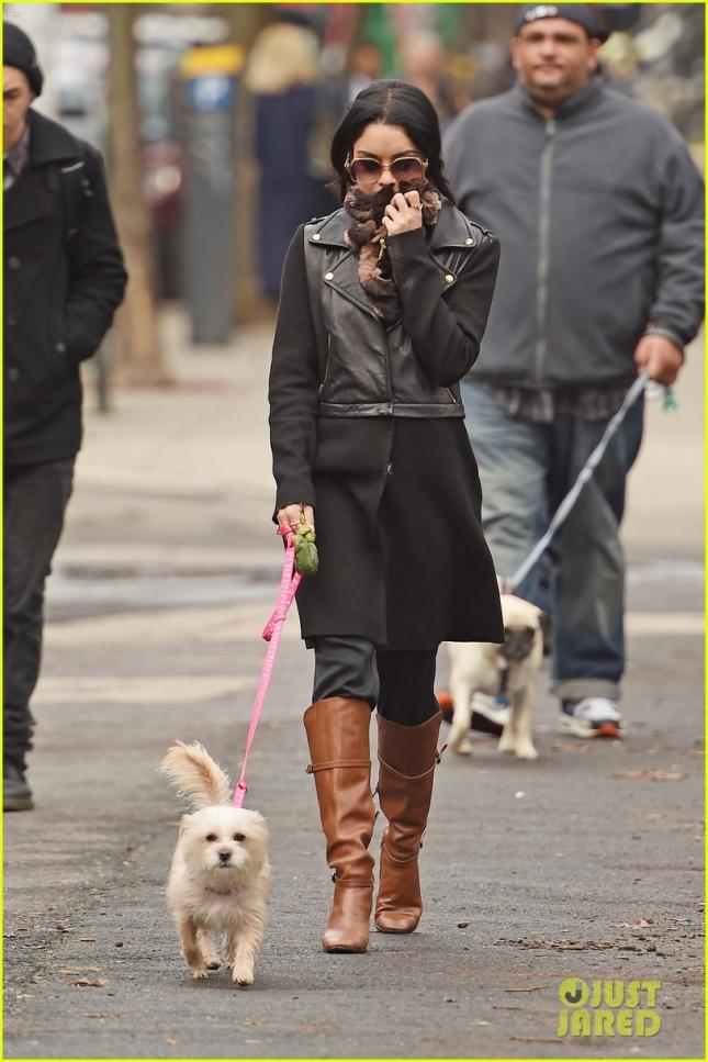 It's a dog-walking day for brunette Vanessa Hudgens in New York