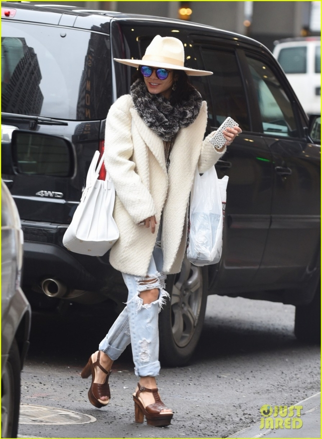 Vanessa Hudgens arrives at her Broadway play in NYC