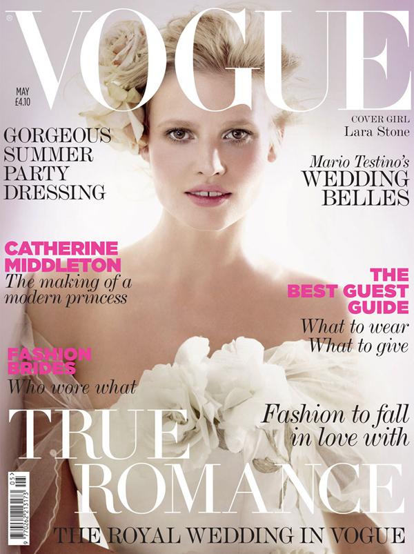 Лара Стоун на обложке Vogue UK, май 2011