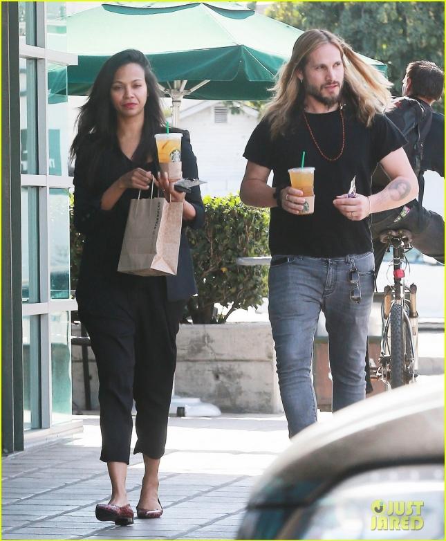 Exclusive... Zoe Saldana & Marco Perego Stop By Starbucks