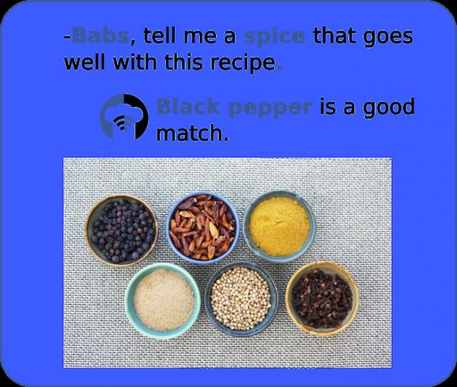 -Babs, подскажи мне специи, которые подойдут к этому блюду. -Черный перец хорошо подойдет.
