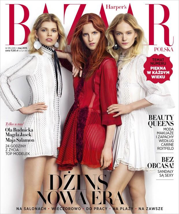 Ола Рудницка, Магдалена Ясек и Майя Саламон на обложке Harper's Bazaar Польша, май 2015