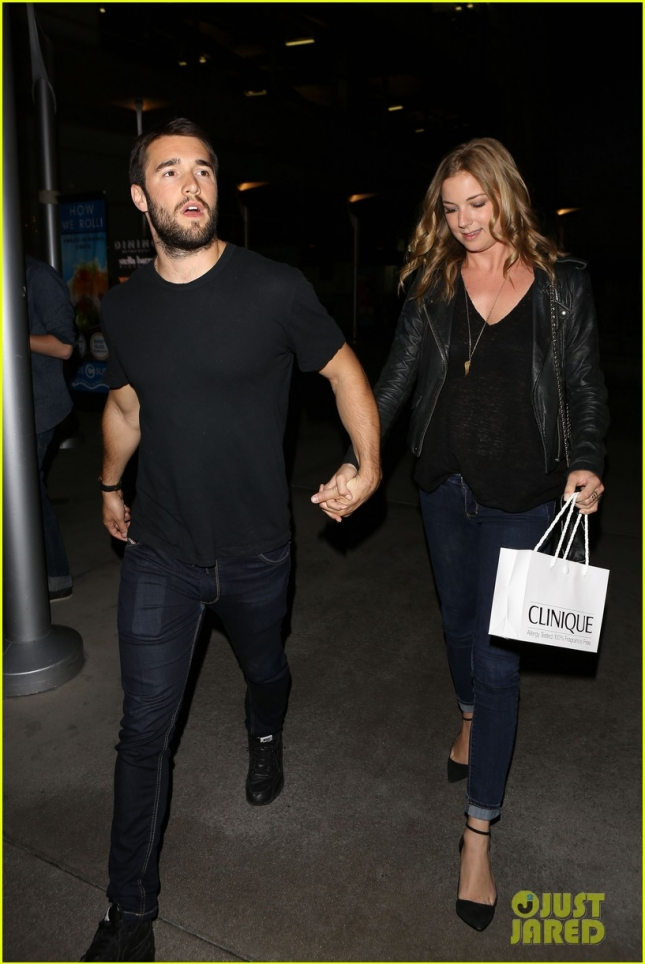 Emily VanCamp and boyfriend Josh Bowman hold hands at the premiere of 'Ride'