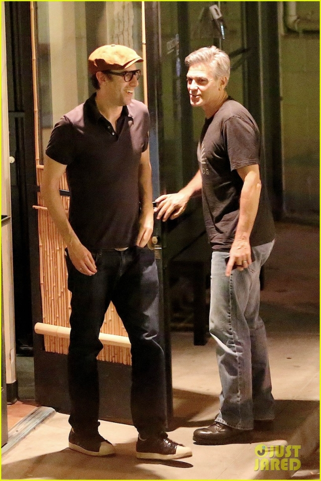 *EXCLUSIVE* George Clooney and Sacha Baron Cohen enjoy a sushi dinner