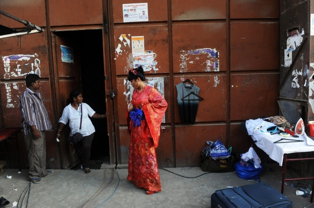 Индийская актриса снимается в фильме в Мумбаи