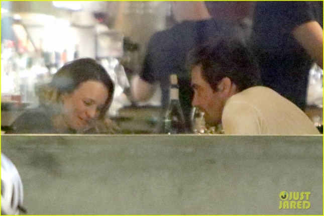 *EXCLUSIVE* Rachel McAdams and Jake Gyllenhaal have an intimate conversation over dinner **MUST CALL FOR PRICING**