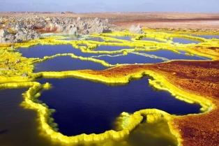 Пустыня Данакиль, кратер Даллол. Границы Эфиопии и Эритреи