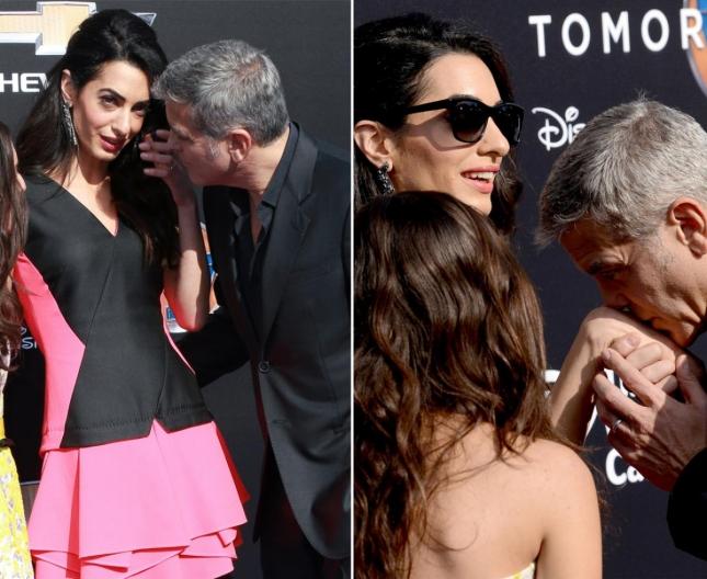 """Джордж Клуни покрыл нежными поцелуями ручки своей супруги Амаль на премьере фильма """"Земля будущего"""" в Анахайме. Несмотря на то, что Джордж никогда не был паинькой, Амаль удалось его """"приручить"""""""