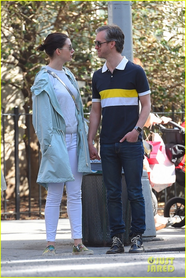 Anne Hathaway and Adam Shulman enjoy a mid day stroll