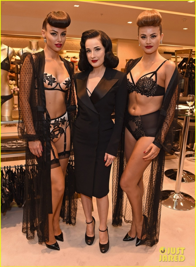 Dita Von Teese promotes her new lingerie line at Harrod's **USA ONLY**