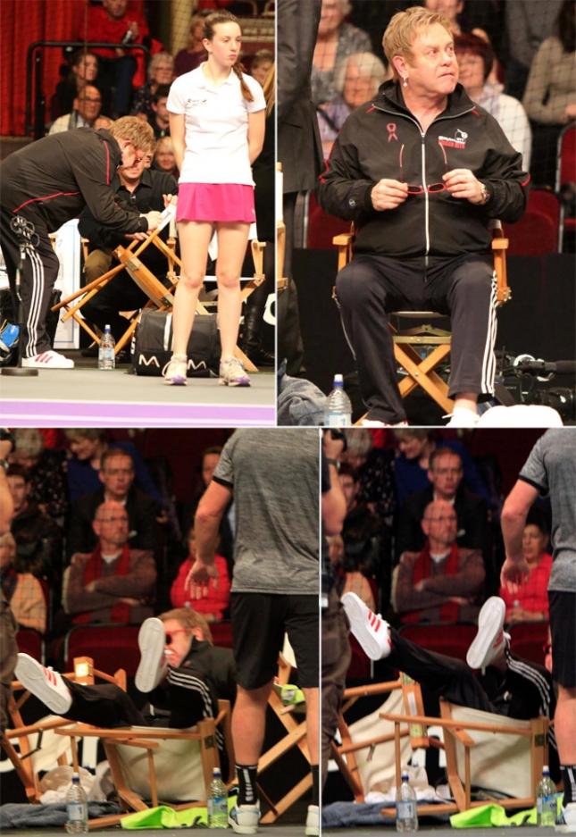 Элтон Джон грохнулся с кресла во время теннисного матча, пожелав вальяжно откинуться
