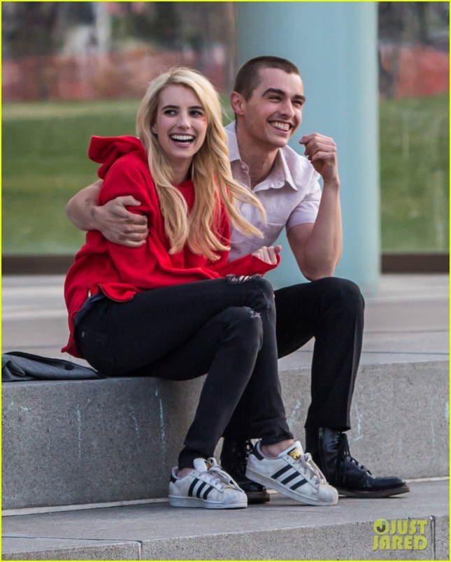 "Emma Roberts & Dave Franco Lock Lips On Set Of ""Nerve"""