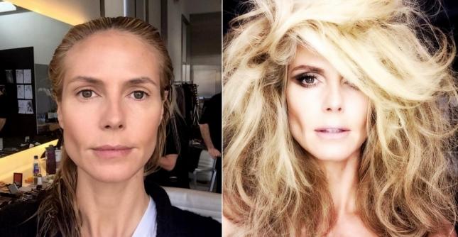 """""""До"""" и """"после"""" - две фотографии, выложенные Хайди Клум 14 апреля, были раскритикованы за излишнюю худобу лица немецкой супермодели."""