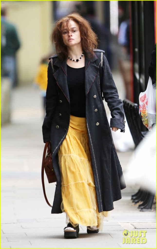*EXCLUSIVE* A disheveled looking Helena Bonham Carter takes a stroll in Hampstead **USA ONLY**
