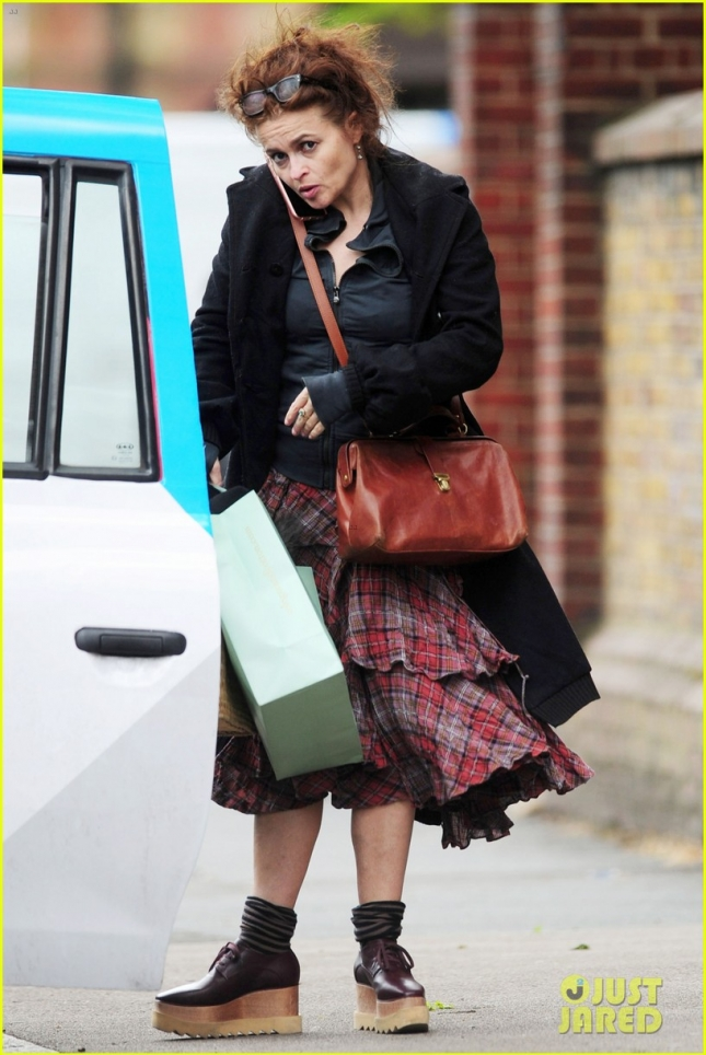 *EXCLUSIVE* Helena Bonham Carter out shopping with her unique fashion style **USA ONLY**