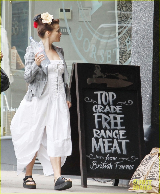 *EXCLUSIVE* Helena Bonham Carter opts for a white summery dress in London **USA ONLY**
