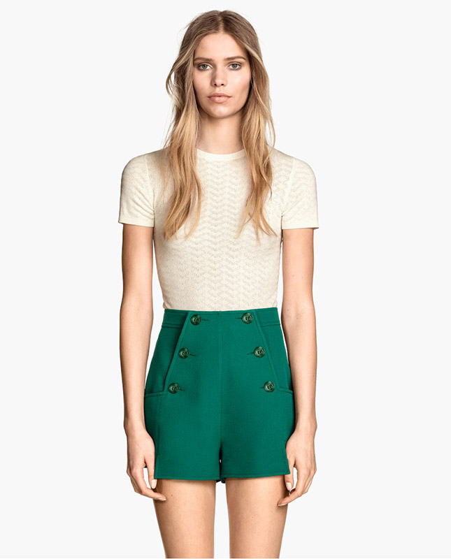 hm-green-button-front-shorts
