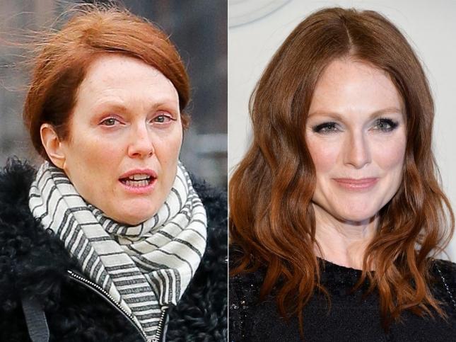 Естественная Джулианна Мур слева и гламурная Джулианна Мур - справа
